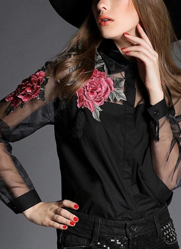 Organza floral del botón del Applique de las mujeres del vintage que empalma la camisa de las mangas