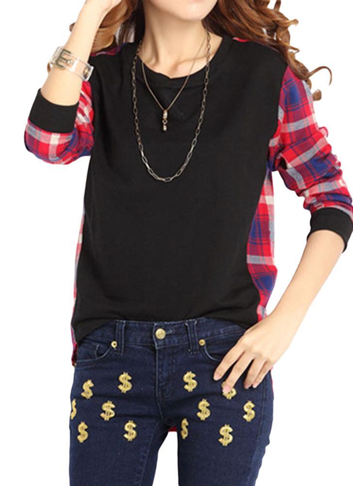 Mulheres Camisa Plus Size Plaid Mangas Longas High-Low Hem Rodada Neck Blusa
