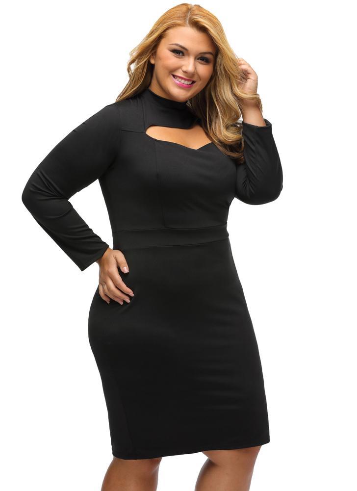 schwarz 3xl Sexy Frauen Plus Size Bodycon Solid Cut Langarm ...