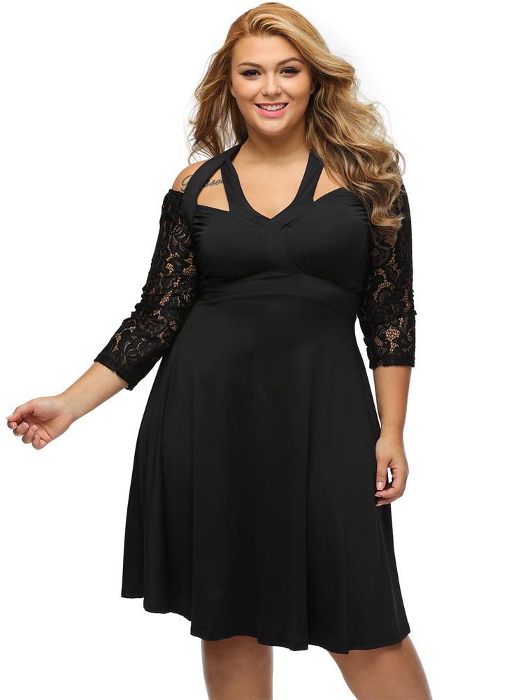Lace Splice Strappy Off Shoulder 3 4 Sleeve Plus Size Midi Dress 842c62d1c07b