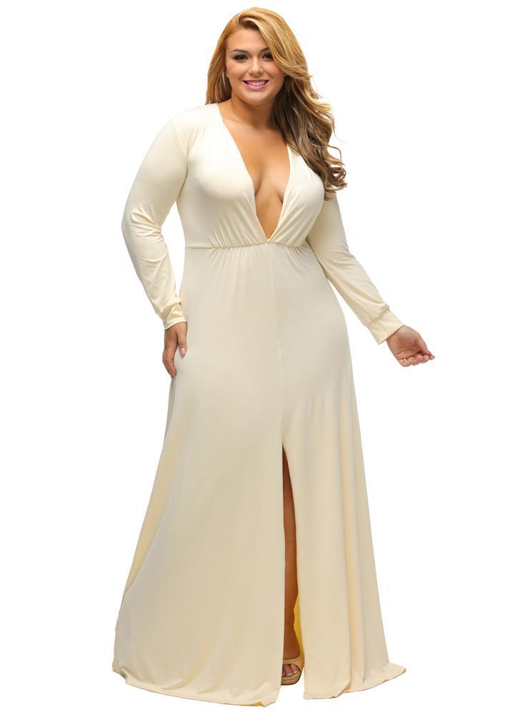 beige xxl Frauen Lange Plus Size Kleid Plunge V-Ausschnitt mit ...