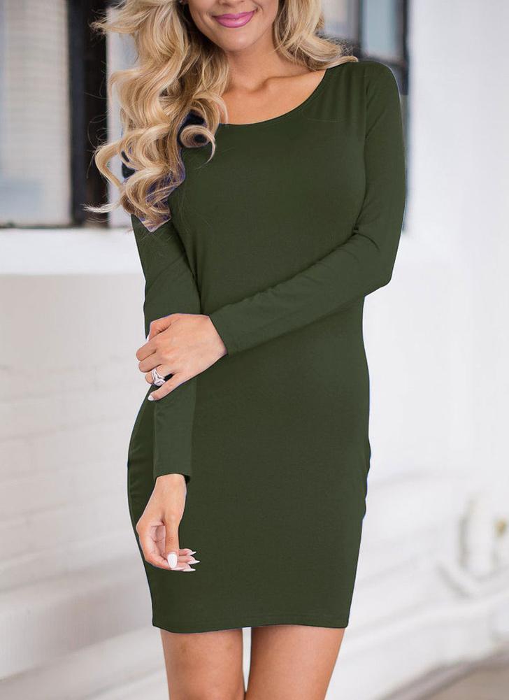 Mini donne sexy Vestito aderente O-Collo Solid maniche lunghe casuale  sottile elegante vestito da 6300423d02c