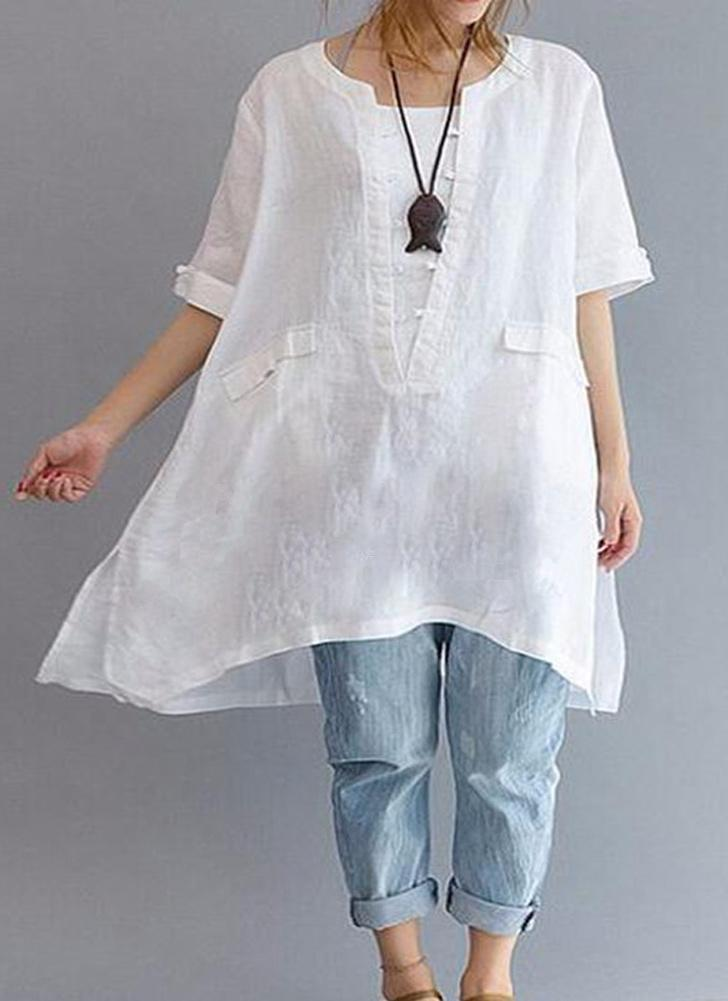 Nuove donne di solidi alla rinfusa lungo camicetta Tasche Solid Colore O-Collo maniche corte Pullover casuale camicia elegante abito bianco