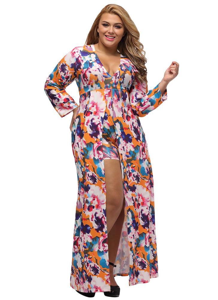 Il vestito sexy delle donne maxi pagliaccetto Allover Print Plunge scollo a  V maniche lunghe del e39915cc3f5
