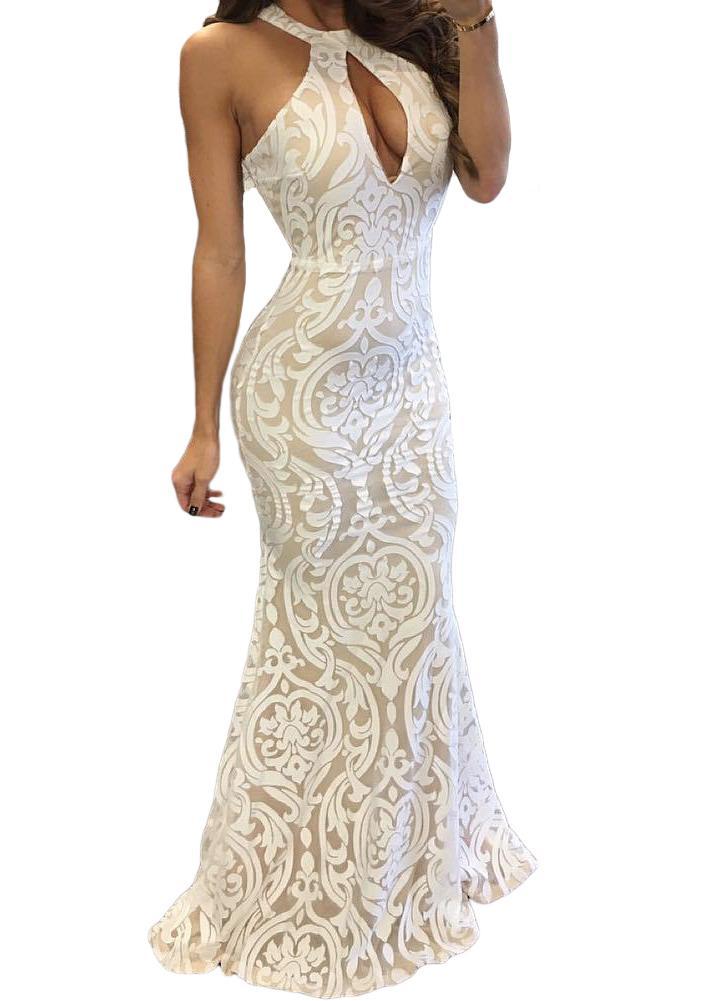 weiß l Elegante Frauen-Weinlese-Blumen-Kleid ärmellos Backless ...