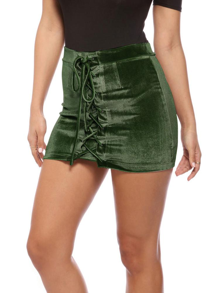 Las mujeres de terciopelo con cordones ajustado de la falda de las correas de Ojales mini falda corta del partido de Clubwear