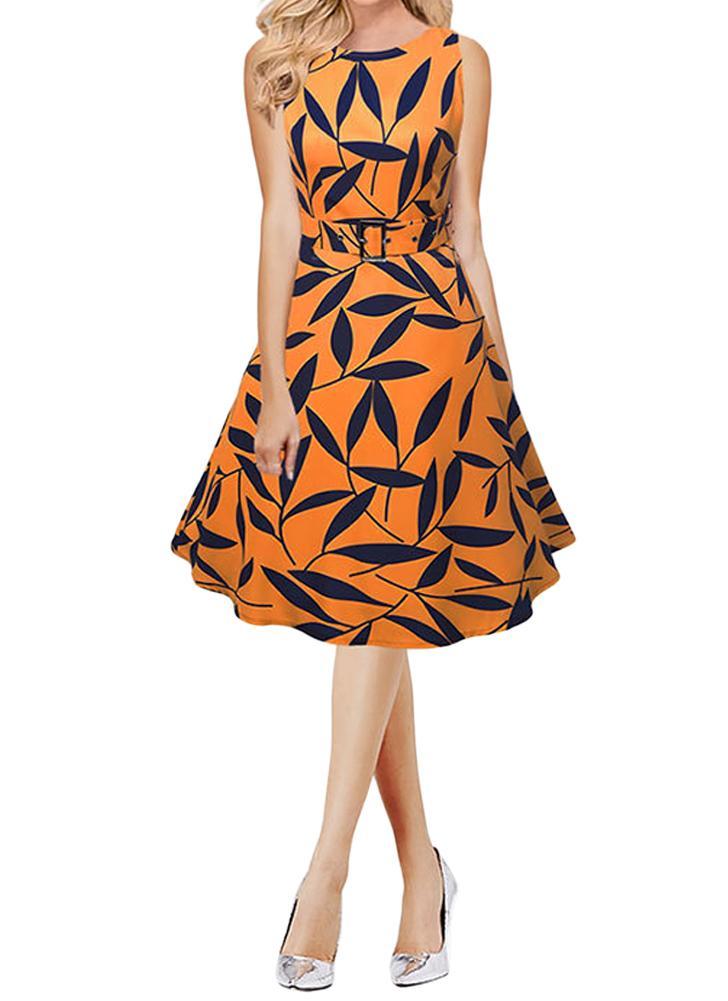 Femmes Feuille d'impression 50s 60s sans manches Robe rétro Vintage Rockabilly Party Robe trapèze Noir / Jaune