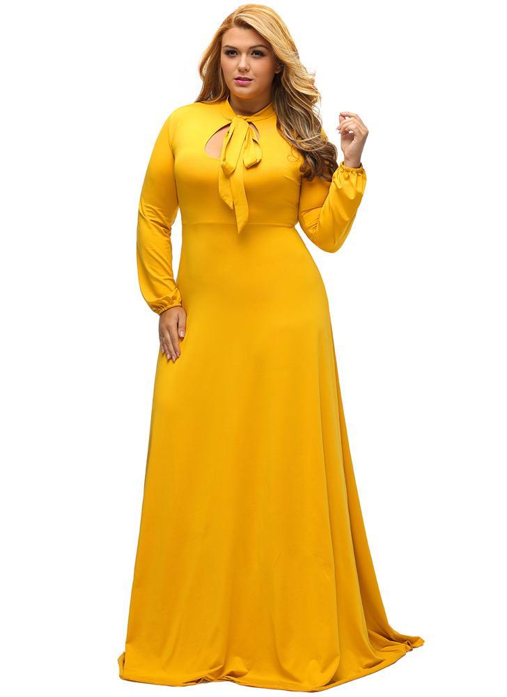 gelb 3xl New Sexy Frauen Plus Size Maxi Kleid Bow Ausschnitt ...