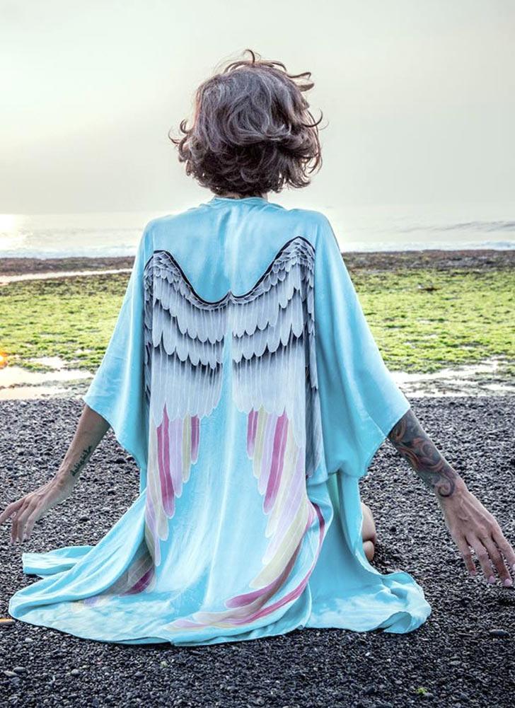 Frauen Kimono-Strand-Vertuschung-Engels-Flügel-Print vorne offen Dreiviertel-Hülsen-lose lange beiläufige Strickjacke Light Blue