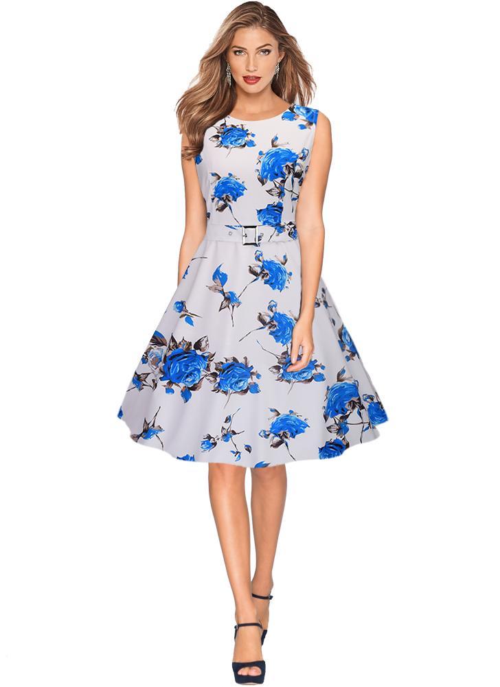 Vestito elegante A-Line Retro Vintage Rockabilly Floral Swing Elegante 4c361d07cb2