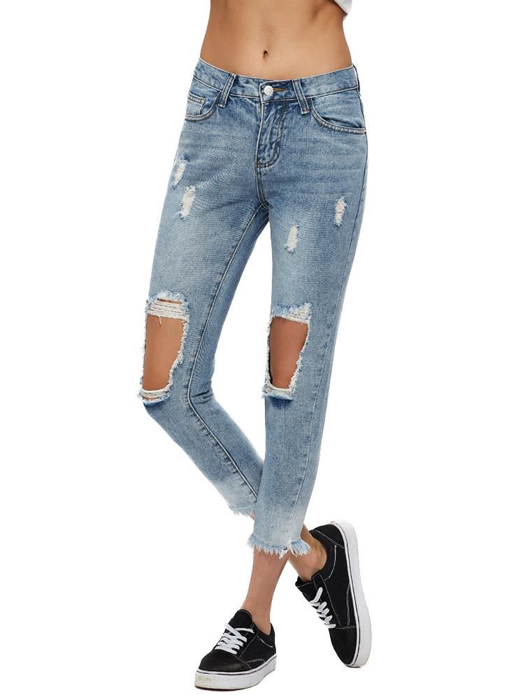 Frauen geerntete Jeans aus gewaschenem Denim Ripped Knie gerade Beine  Reißverschluss mittlere Taillen-Loch Distressed