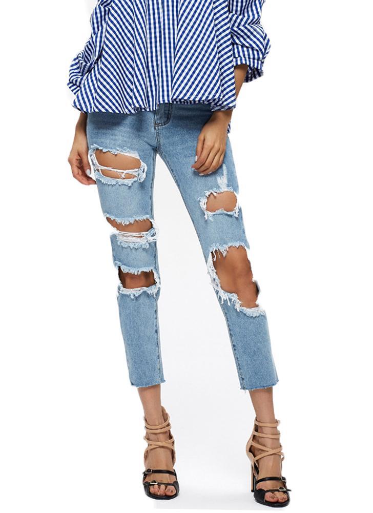 Nuove donne jeans strappati Denim Destroyed sfilacciata Hole Zipper Pockets  diritti casuali dei pantaloni Azzurro 6c5dd1477e8