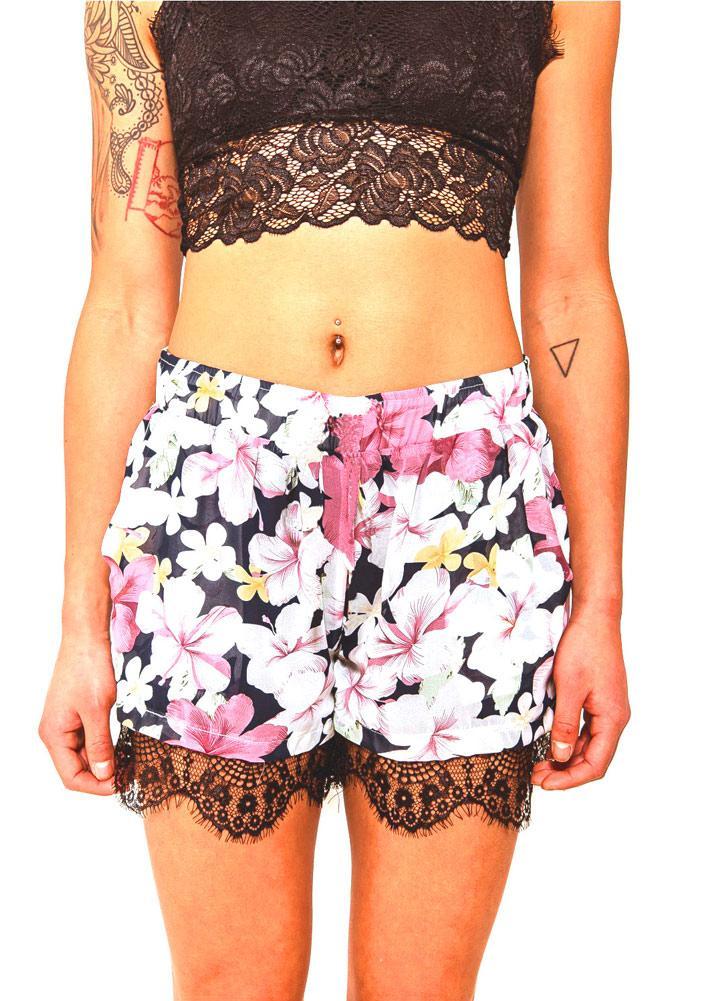 Las nuevas mujeres pone en cortocircuito la impresión floral elástico mediados de cintura dobladillo del cordón delgado ocasional de Boho Beach Wear Negro