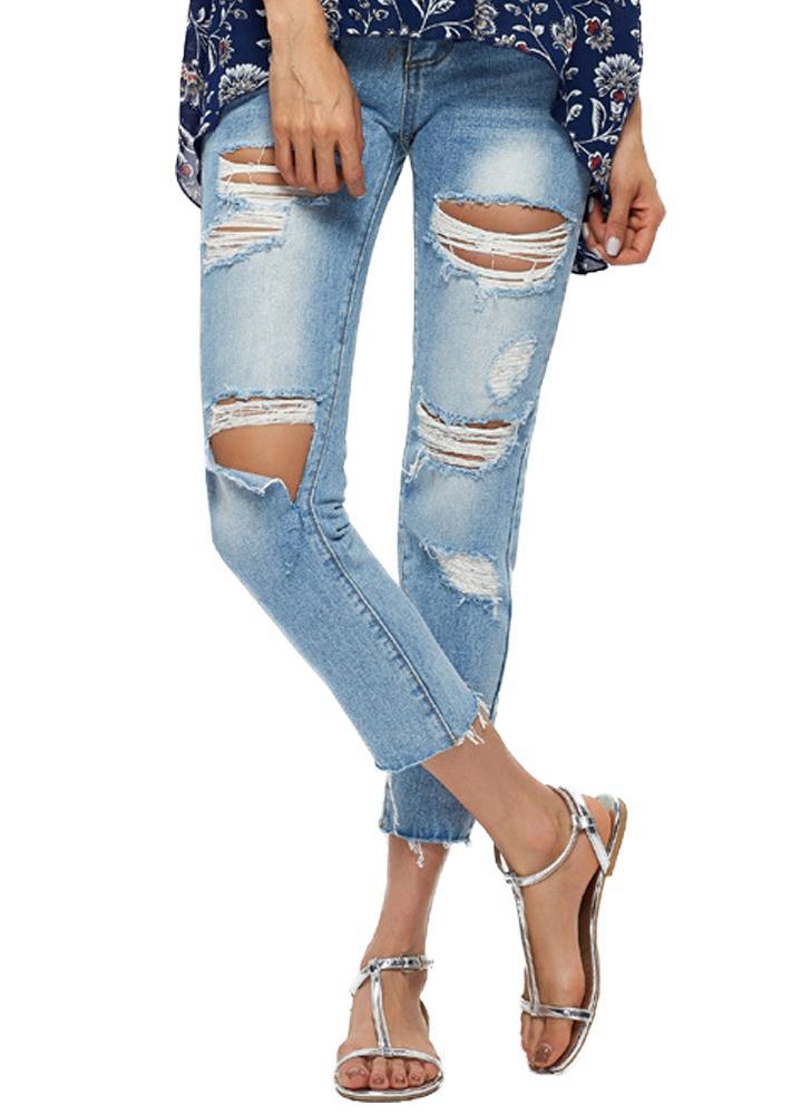 e191cc931 Femmes Crop Ripped Jeans Denim Destroyed effilochée Trou Washed Distressed  Skinny Pantalons Crayon Pantalons Collants Bleu Clair