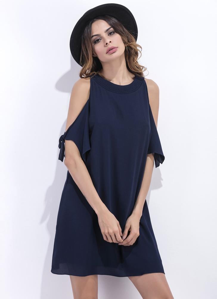Chiffon Off shoulder Round Neck Half Sleeve Women's Mini Shift Dress