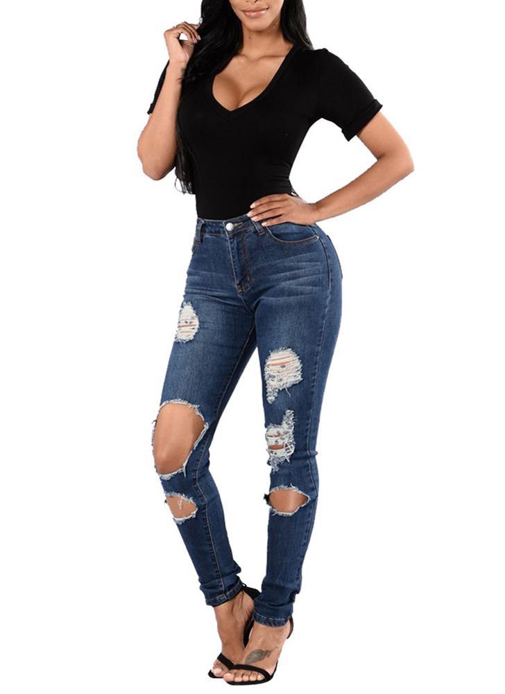 Atractivos de las mujeres del dril de algodón pantalones vaqueros flacos pantalones lavados de los pantalones vaqueros del agujero de la mediados de cintura pantalones rectos azules