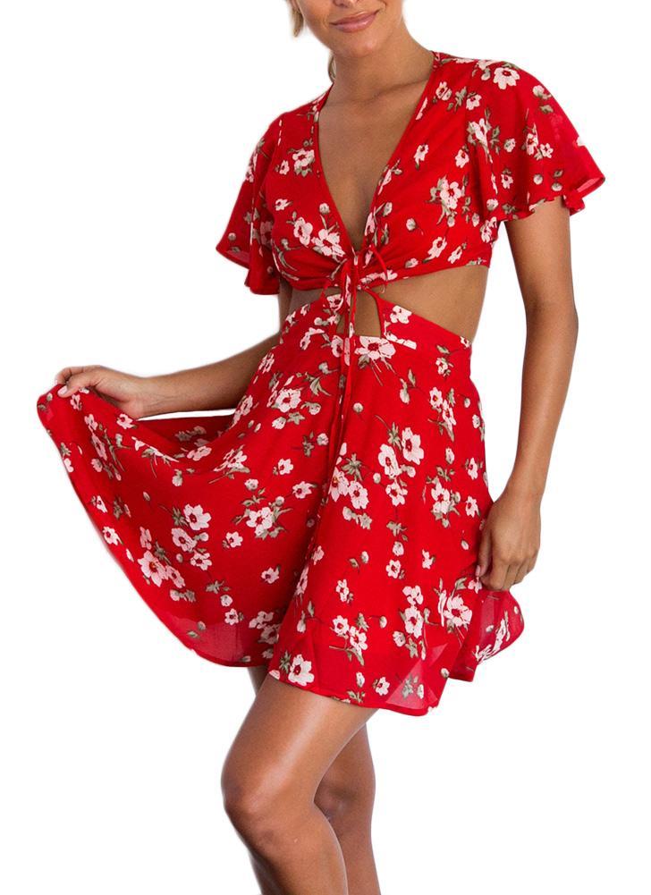 rot l Sexy Frauen-mini Chiffon- Kleid Flora Print Lace Up Backless ...