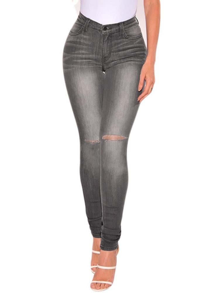 Las mujeres rasgaron los pantalones vaqueros del dril de algodón apenado destruido agujero lavada Pantalón ajustado Lápiz Pantalones Medias grises