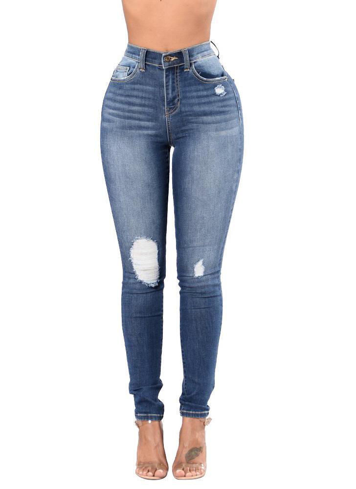 70f295cfd09f Donne jeans lavati elastico denim strappato ginocchio Zipper vita alta  afflitto sexy skinny matita pantaloni blu