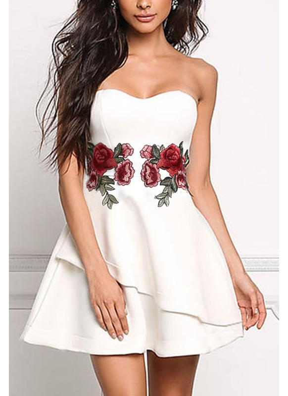 Fashion Women Strapless Rose Broderie Appliqué Irregular Bodycon Dress