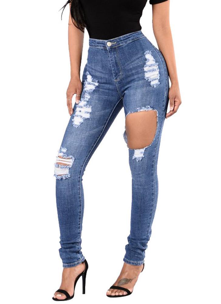 Nuove donne jeans strappati aderente Denim Destroyed sfilacciata Hole  Zipper tasche pantaloni casuali pantaloni blu 2d61f636359