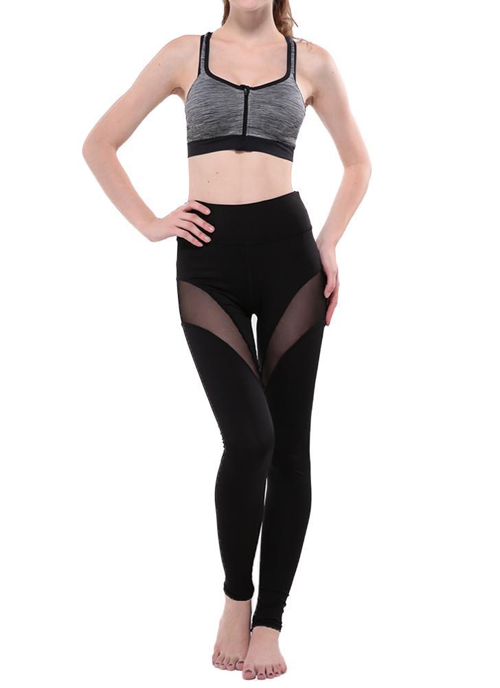 Nouveau Femmes Sport Leggings Yoga Sheer Mesh Splice stretch Fitness Gym moulantes Courir Pantalon noir
