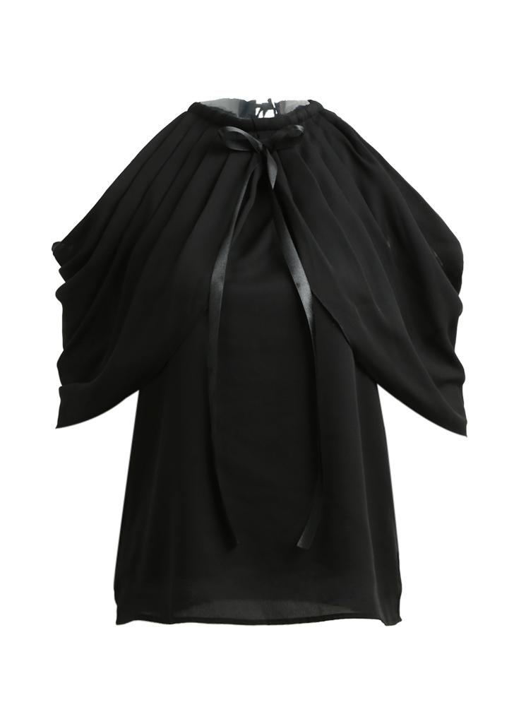 Mulheres Chiffon Off the Shoulder Top O-Neck Bow Ruched Casual Blusa Top Black / White