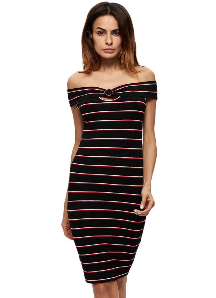 schwarz l Sexy Frauen-Minikleid Gestreiftes weg von der Schulter ...