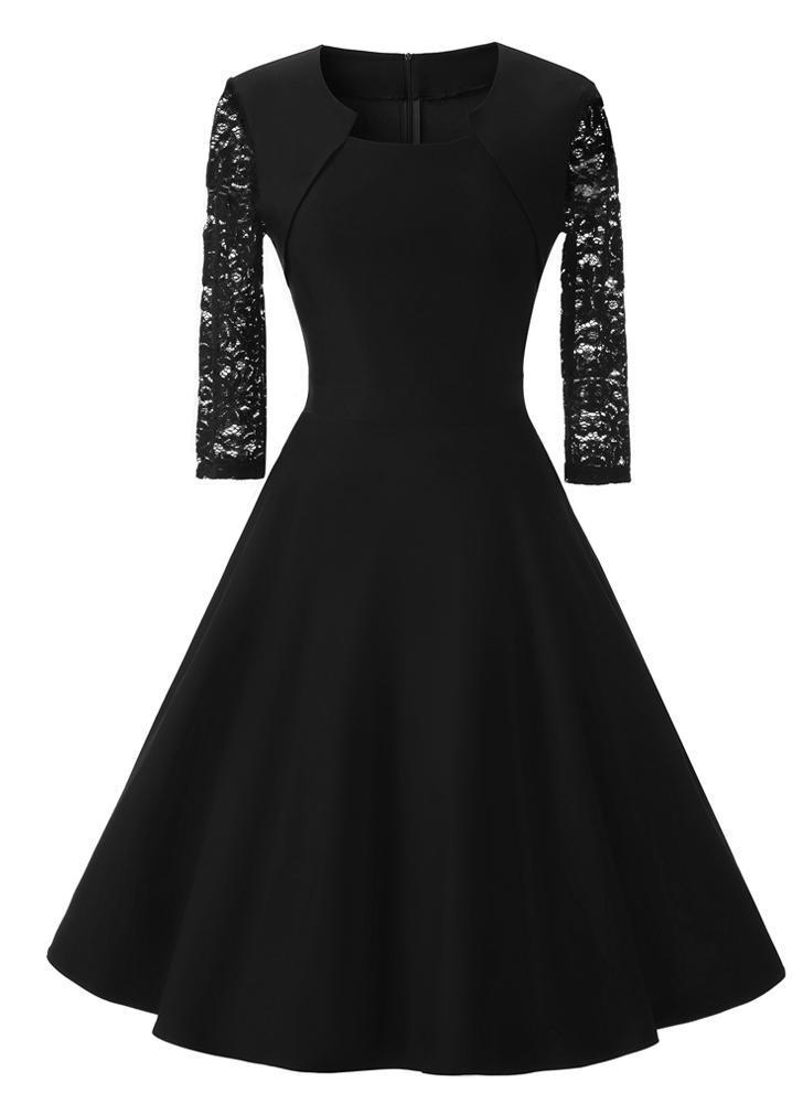 Mulheres Vintage Vestido de renda luva dos três quartos O Neck-A-Line Voltar Zipper Vestido retro do partido elegante