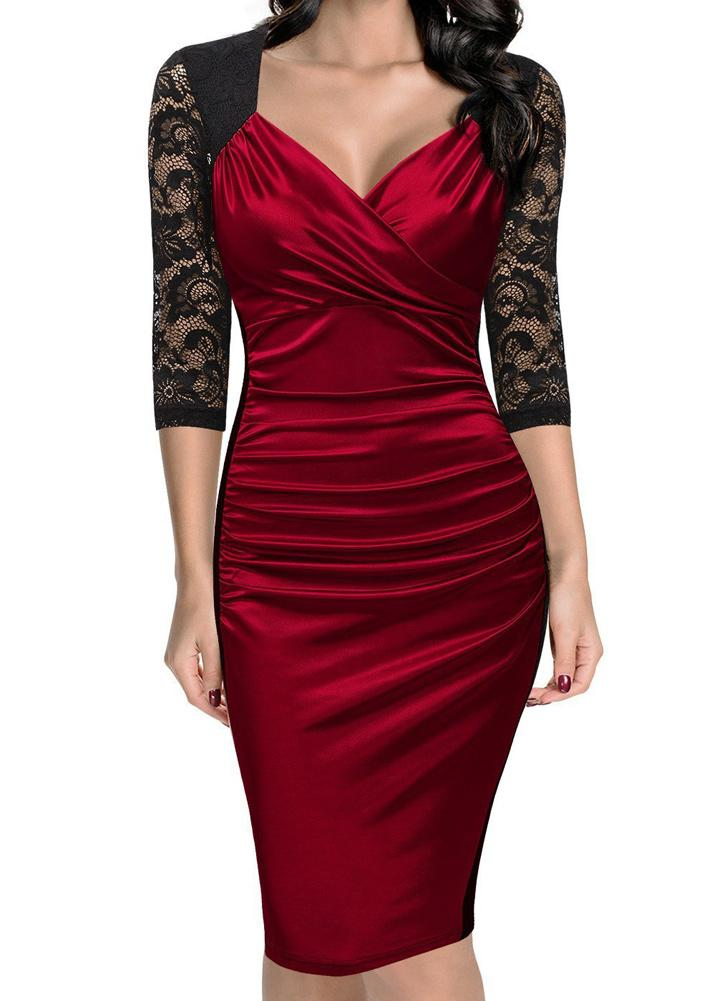 38be2a2f9dec red s Sheath Lace Gathering Ruched V Neck Zipper Women's Midi Dress - Chicuu