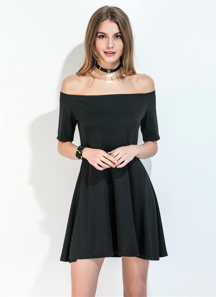 schwarz l Neuer reizvolle Frauen-Minikleid weg vom Schulter ...