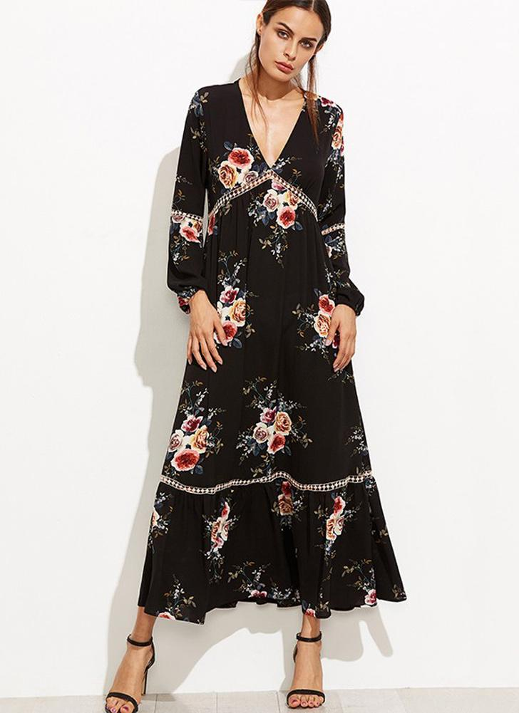 Bohemian Floral Print Plunge V Neck Long Sleeve Women's Maxi Dress