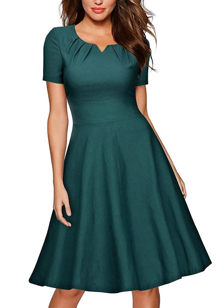 Summer Dress donne Vintage Elegante maniche corte 1950 Rockabilly partito  swing Abito Borgogna   verde 63ad000f4ae