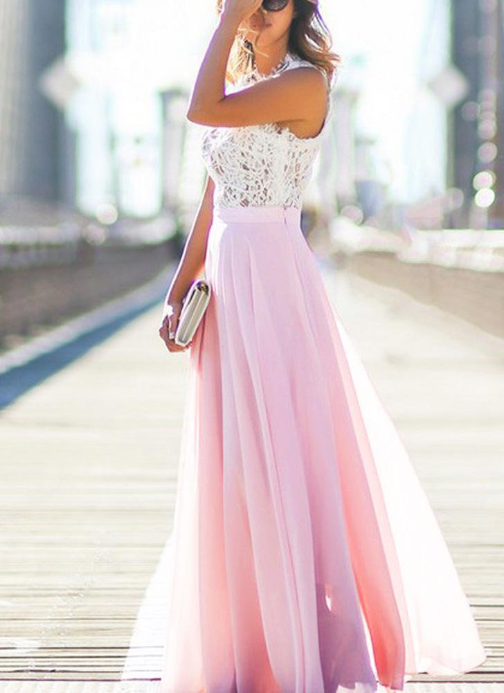 s rosado Atractivo de las mujeres vestido largo maxi de encaje de ...