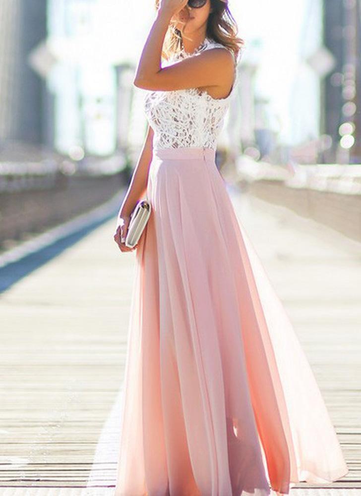 Maxi donne sexy vestito lungo in pizzo trasparente Mesh Splice maniche  Zipper da sera elegante del ... 8a15976468d