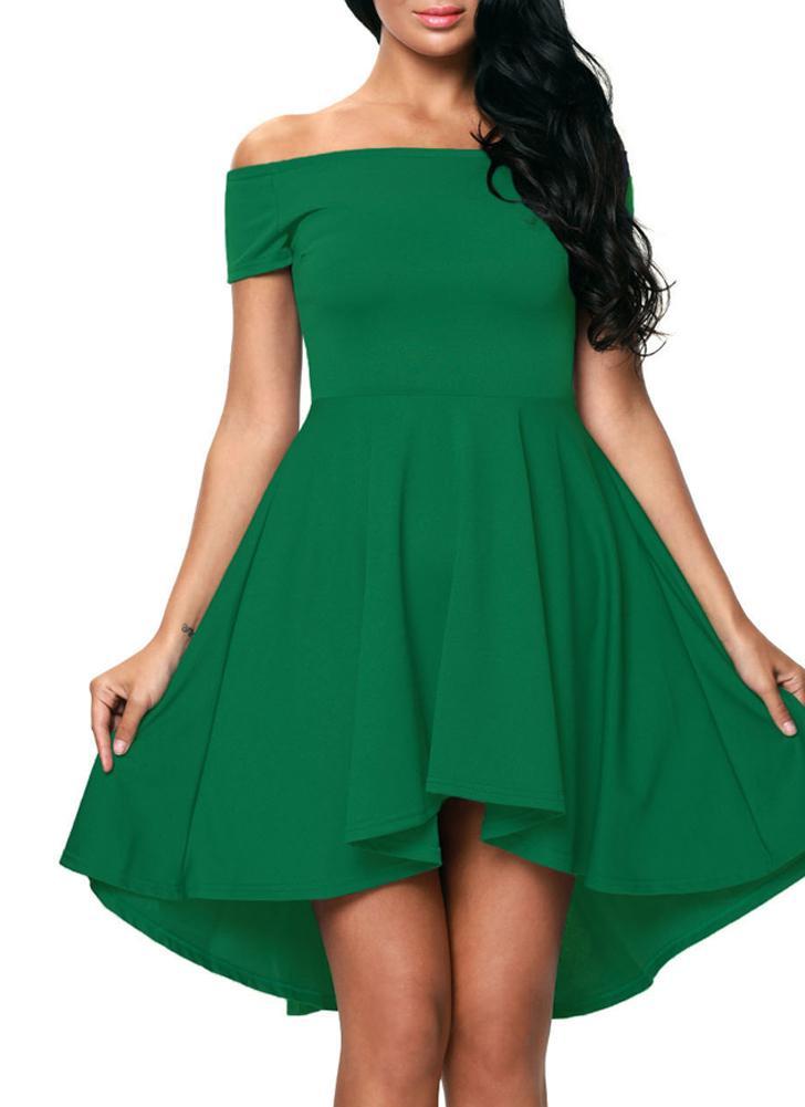grün s Slash Neck neue Art und Weise Frauen weg vom Schulter-Kleid ...