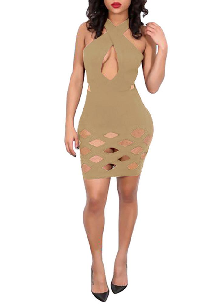 Bodycon Cross Bandage Hollow Out Sleeveless Women's Mini Dress