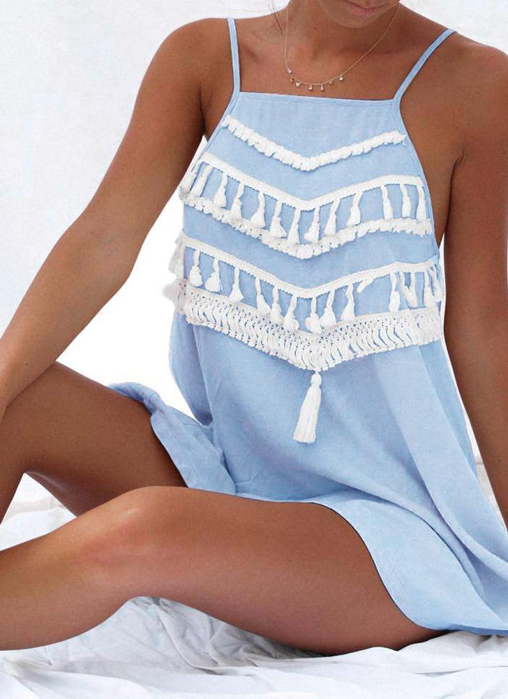 Beach Summer Tassel Strap Backless Casual Loose A-Line Kleid