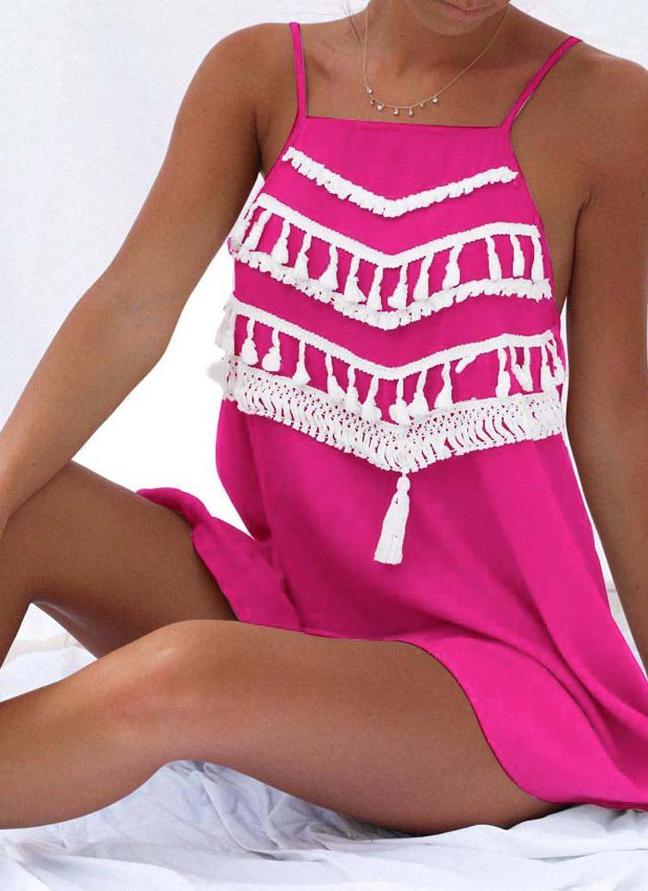 Beach Summer Tassel Strap Backless Casual Loose A-Line Kleid