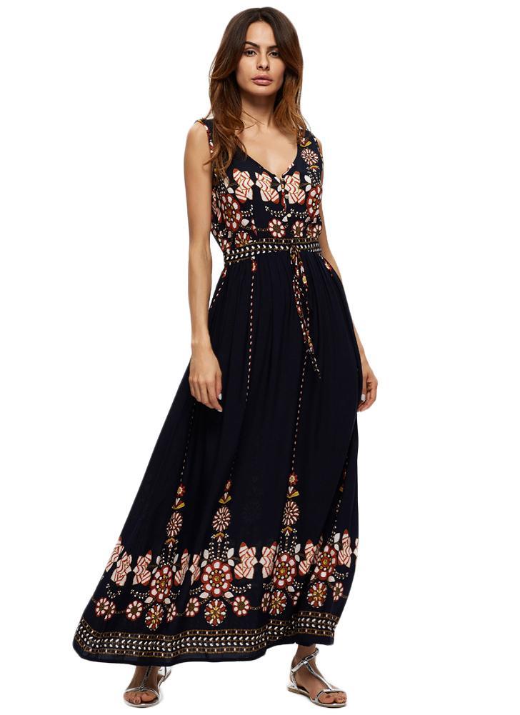 dunkelblau m Vintage Blumendruck mit V-Ausschnitt Backless ...