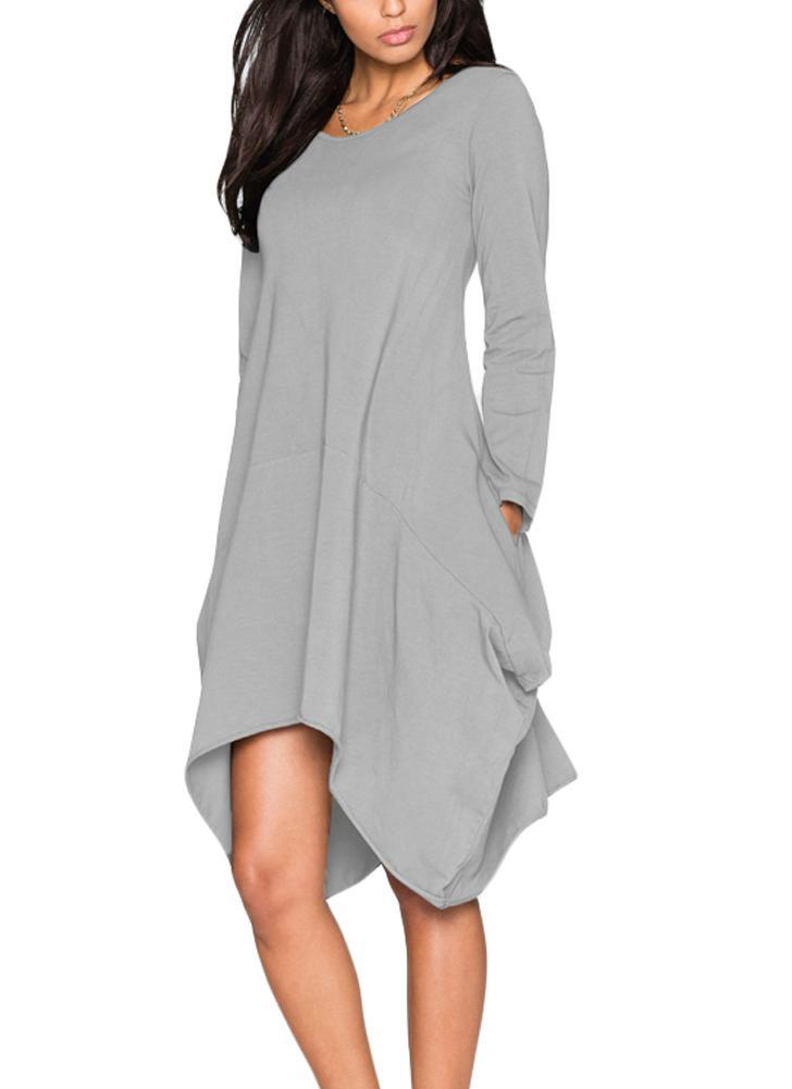 Vestito longuette irregolare lunga rotonda manica Neck donna da448b00447