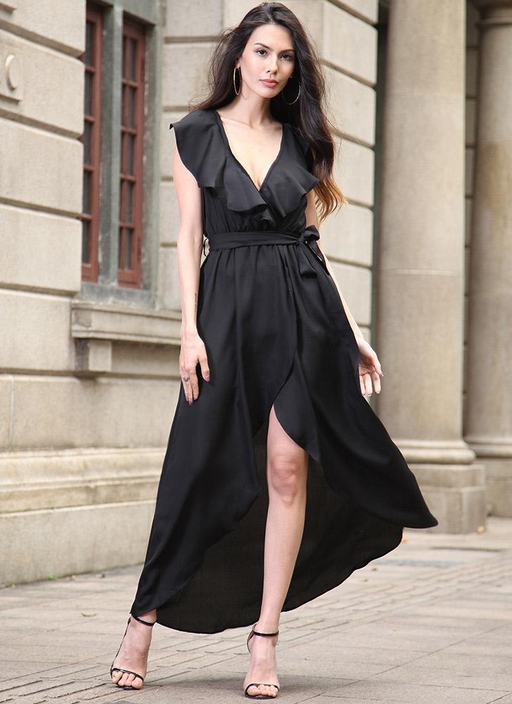 Maxi Vestido das elegante V profundo Mulheres Ruffle Elastic cintura alta assimétricas