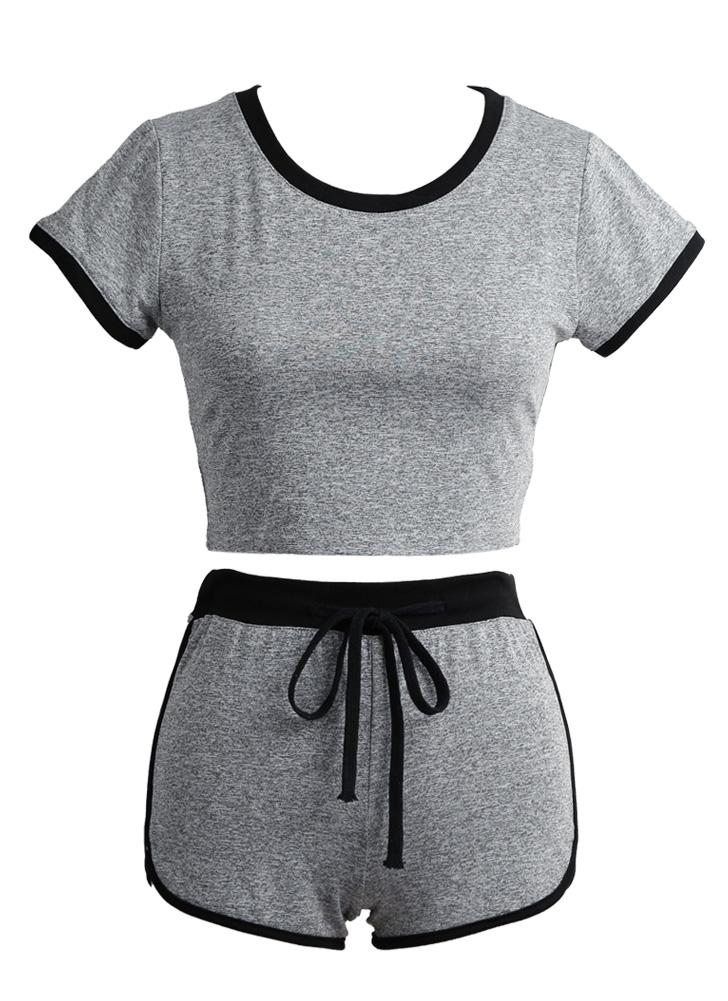Women Sport Yoga Set Cropped Short Sleeves Elastic Drawstring Fitness Suit