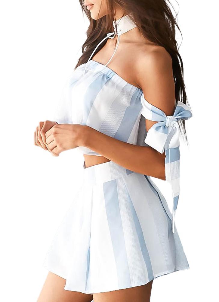 Новая женская летняя полоса с плечевой втулкой Two Piece Rompers