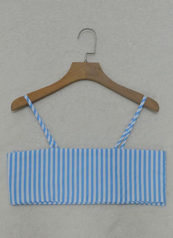 Mulheres Striped Cami Cropped Top Tie Arco Frontar Sem Manga Bandagem Bralette Casuais Colheita Tops Azul