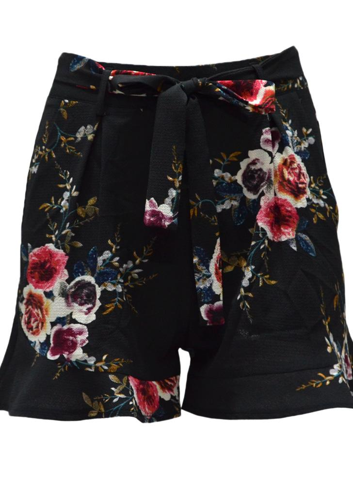 New Women Floral Shorts High Waist Ruffle Ruched Side Pocket Zipper Shorts