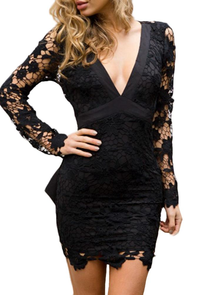 Sexy Women Mini Bodycon Robe Dentelle Hollow Out Bow V-Neck Manches Longues Robe élégante Rose / Noir
