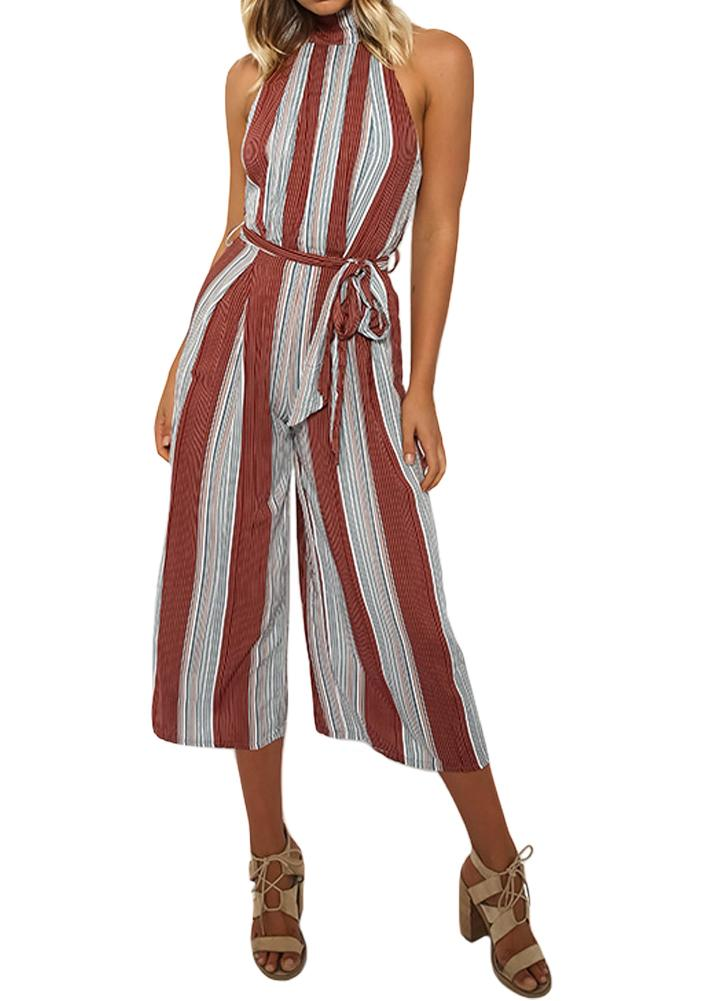 Women Halter Backless Zipper Belted Stripe Jumpsuit Playsuit