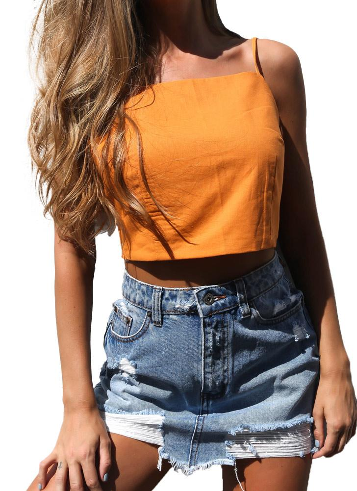 Women Cami Strap  Open Tie Back Bow Sleeveless  Casual Crop Tops