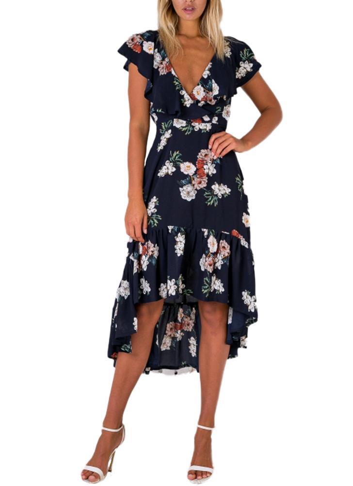 Vestito da cerimonia nuziale del pieghettato del V-collo di stampa del fiore del vestito da estate delle donne dell'annata blu scuro / bianco